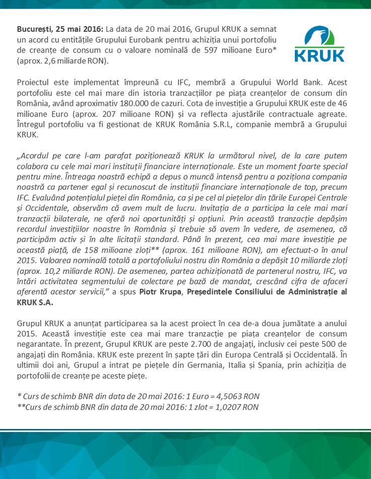 http://ro.kruk.eu/ Grupul KRUK și Banca Mondială cumpără cel mai mare portofoliu de creanțe de consum din România