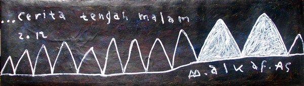 boy alkaf, cerita tengah malam, 1000 x 287 mm, acrylic on canvas, 2012