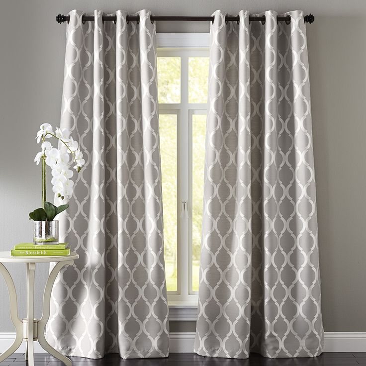 Moorish tile gray grommet curtain the floor patterns and window - Kitchen valance patterns ...