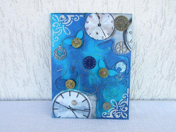 Steampunk canvas watch gears canvas butterflies canvas