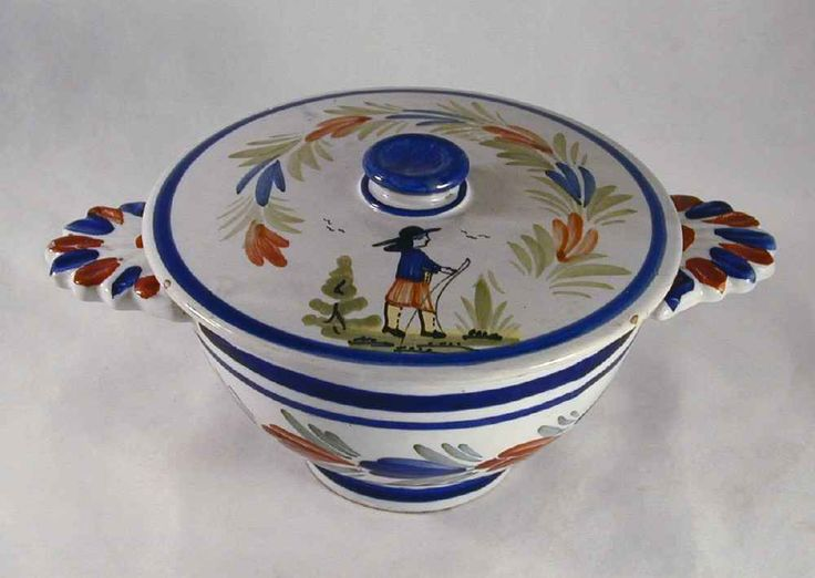 Antique Hand Painted Pottery Colorful French Quimper Two Handled Covered Bowl Marked HB Quimper For Your Quimper Pottery Collection
