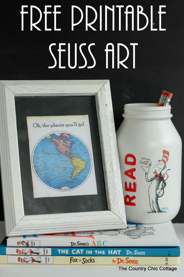 Free printable Seuss art -- print this art with a Dr. Seuss quote for Read Across America Day or just to display in your home.