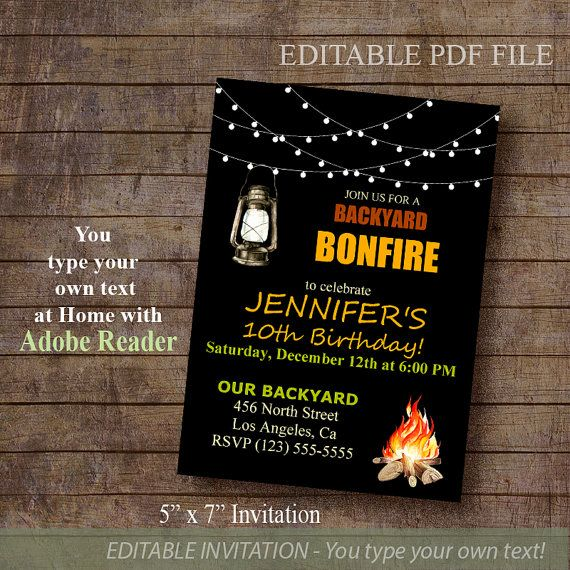 Bonfire Invitation Backyard bonfire party Birthday by ByMiniStore