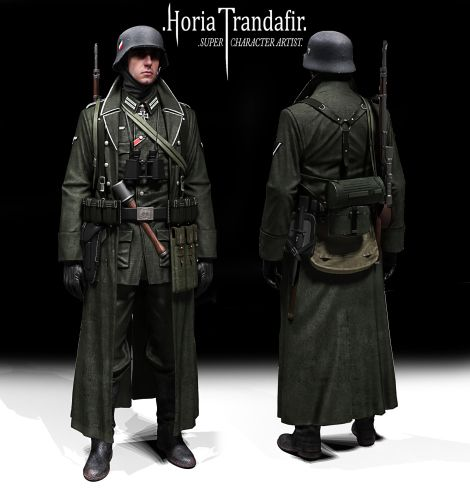 The artwork is nice, but this is nothing of a German soldier. What is this gear and insignia? The coat collar, and the jacket's bottom pockets, MP40 pouches with K98k Pouches... Knight's Cross and he's a sniper too. This  reminds me of some reenactors that come out as Mexican Generals.