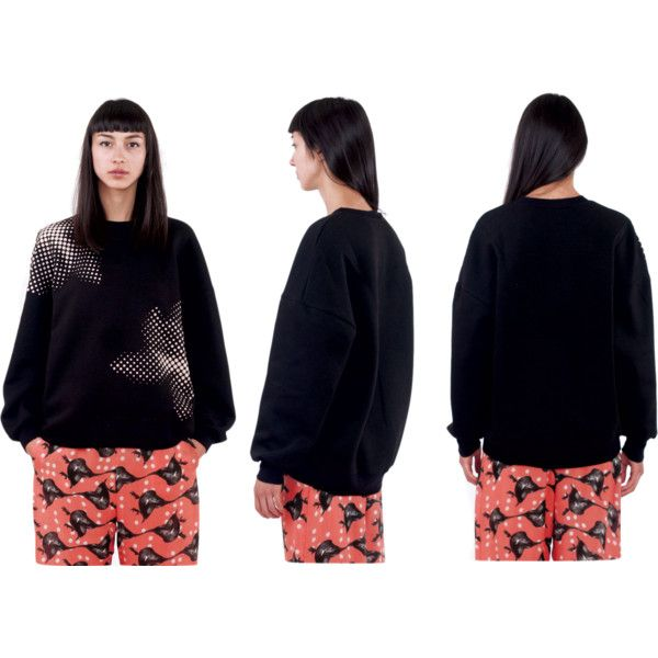 Bubble Black Sweatshirt | Ioana Ciolacu by ioanaciolacudotcom on Polyvore