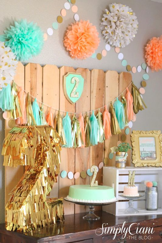 Turquoise and Peach Party Decor