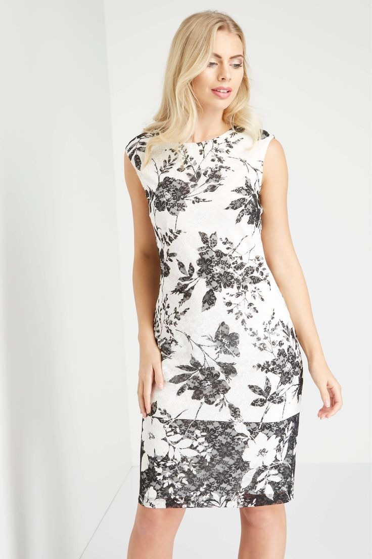 If you love the delicate texture of lace on your skin, you will love this monochrome #dress from @romanoriginals with it's painted floral lace fabric with a mono contrast border 😍
