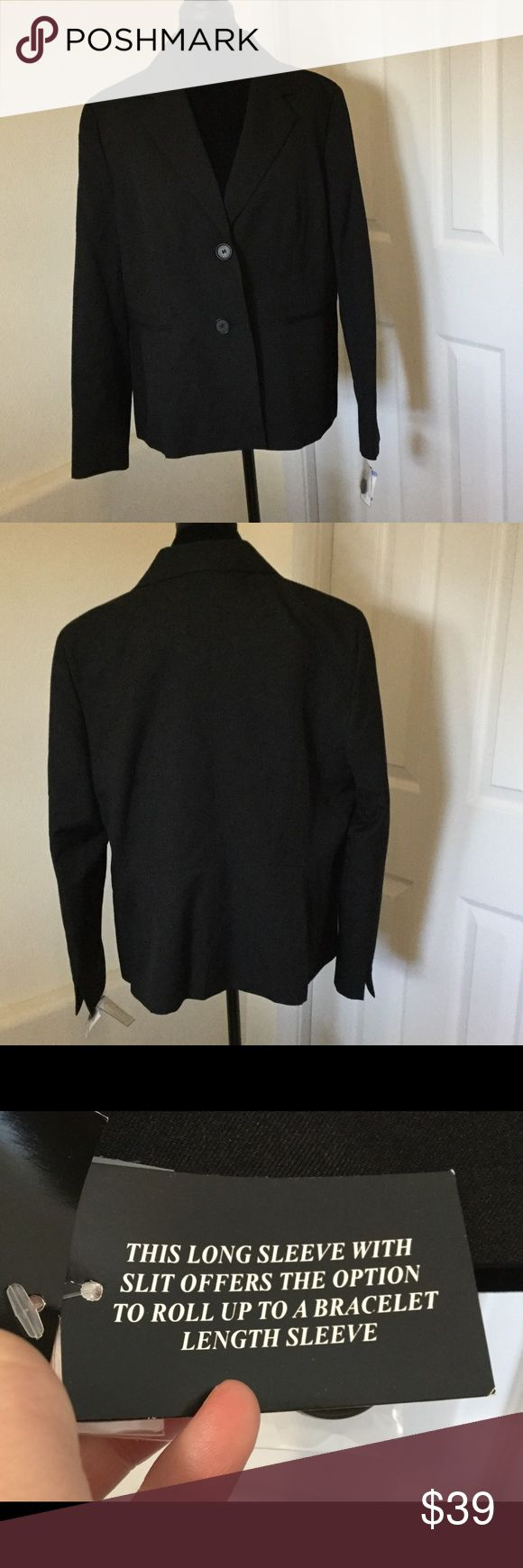 """NWT Plus Size Black Blazer - Has a defect - Read Defect is shown in last photo. Came that way from manufacturer. Faint white lines going down the side of the left arm. Other than that Brand New with tags! Measurements: shoulder to hem is approximately 26"""" and armpit to armpit is 23"""" across. Retail is $119.00 Classy black blazer that every wardrobe needs! Kasper Jackets & Coats Blazers"""