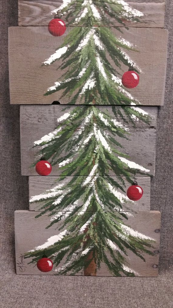 Christmas tree, red bulbs, Gray Reclaimed Pallet Art, winter snow, christmas Hand painted, upcycled, Wall art, Distressed Original Acrylic painting on reclaimed Pallet boards. This unique piece is 36 x apprx. 12 This Christmas tree with red bulbs on a gray stained background is perfect for a personalized rustic touch to your Christmas decorating. Perfect for that skinny wall space or just lean it against the wall. All of my creations are made of reclaimed boards. They are hand painted and…