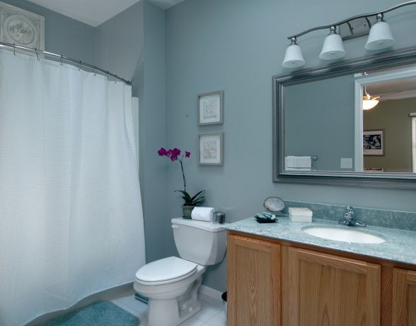 Small Cooler Toned Master Bathroom Gray Green Marble Vanity Top Light Walls Silver Mirror Name Of The Paint Is Argos Sw70