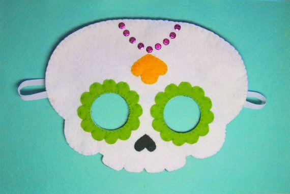 Azúcar cráneo sintió máscara (tamaño de 2 años a adultos) - mano blanco Día de Halloween del traje de la muchacha de parte de monstruo muerto de vestir juego de accesorios