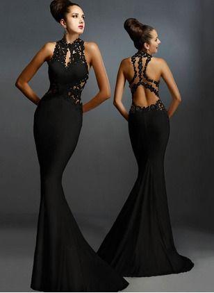 Polyester Solide Ärmellos Maxi Elegant Kleider (1029345) @ floryday.com