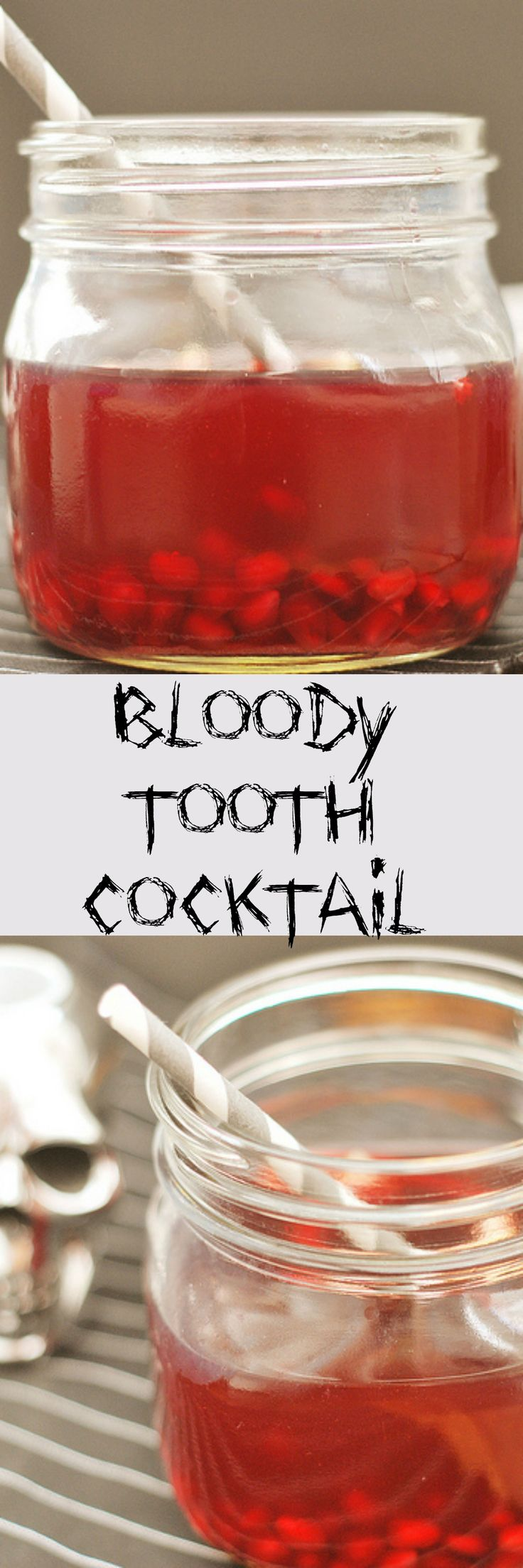 Bloody Tooth Cocktail - so fun for a Halloween party! Pomegranate seeds look just like bloody teeth in here!