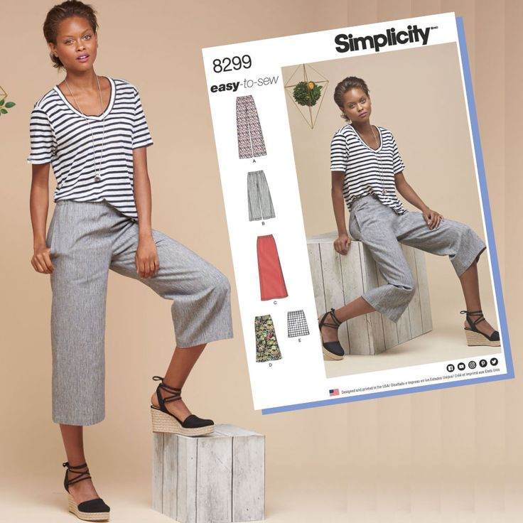 S8299 Misses' Skirts or Pants in Various Lengths. Simplicity Sewing  Patterns Canada