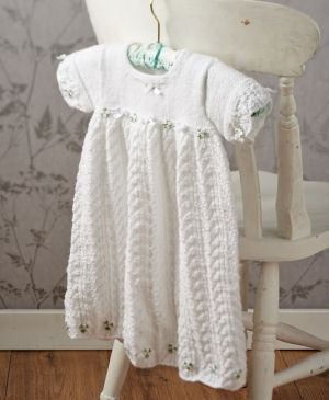 Free Knitting Pattern Baby Christening Gown : Easy lace christening gown - free pattern download from Lets Knit! Bab...