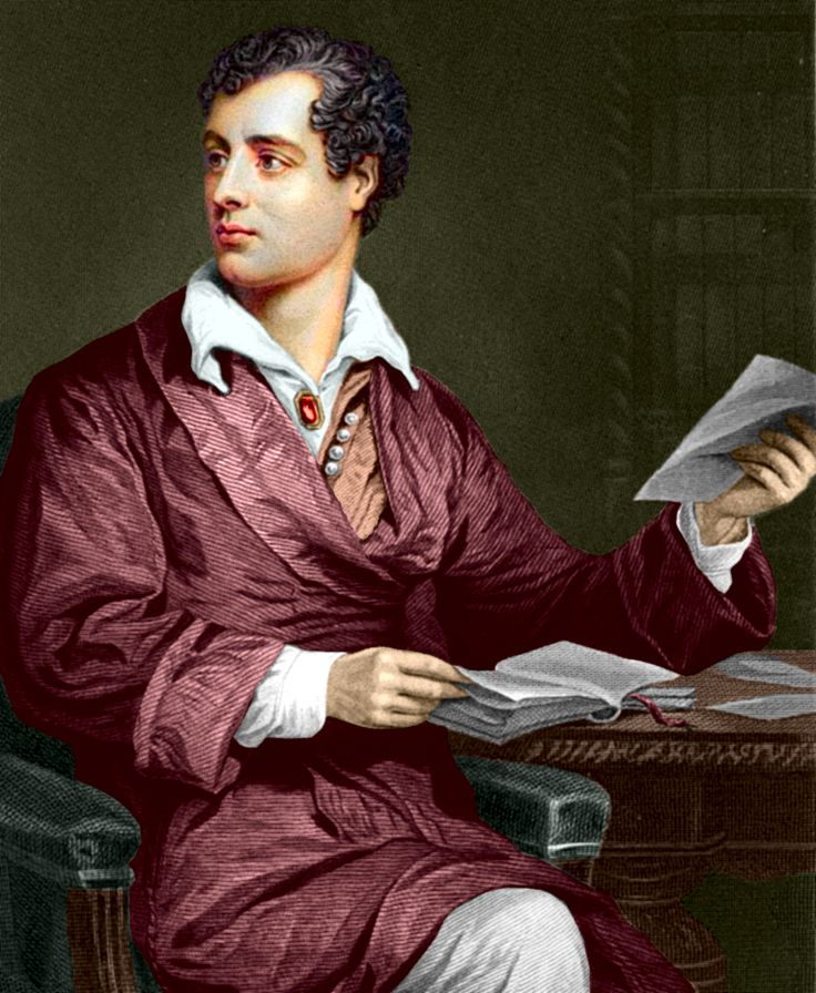 "George Gordon Byron (later Noel), 6th Baron Byron, known as ""Lord Byron"" (1788-1824). This is a coloured engraving by an unknown artist dating 1873."