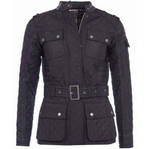 Barbour Ladies International Vanier Belted Quilted Jacket Black/Chartreuse/Mallard Best Price