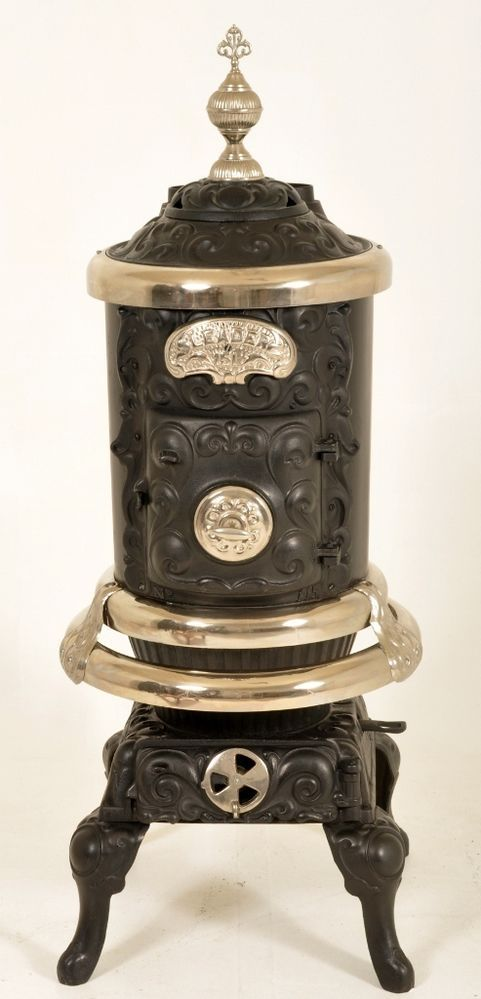 Antique American restored fancy cast iron parlor pot belly wood coal stove  1890 - 1245 Best Old Wood Stoves Images On Pinterest