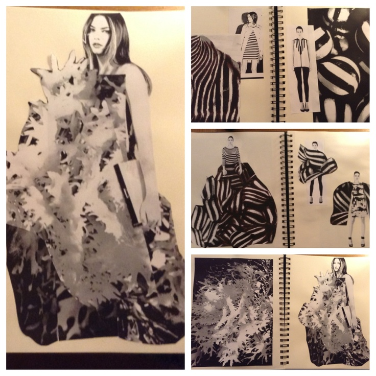 monochrome fashion design sketchbook find an image that inspires you and try to create a sketch incorporating the concept then create a collaged idea with - Fashion Design Ideas