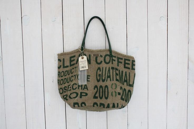 green burlap coffe bag