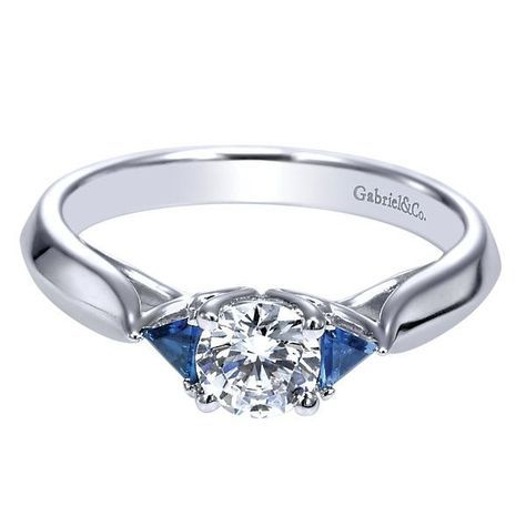 14K 1/2ct Round Diamond Engagement Ring With Trillion Sapphires