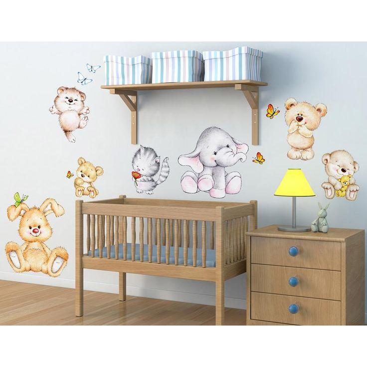 Cute Animals διακοσμητικά παιδικά αυτοκόλλητα τοίχου επανατοποθετούμενα XL μέγεθος