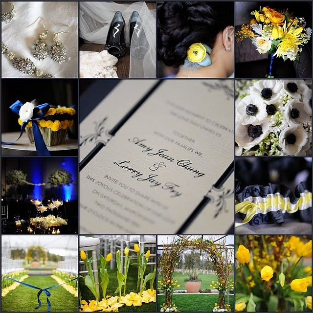 Gray and Yellow (Navy Accented) Wedding Details Inspiration Board