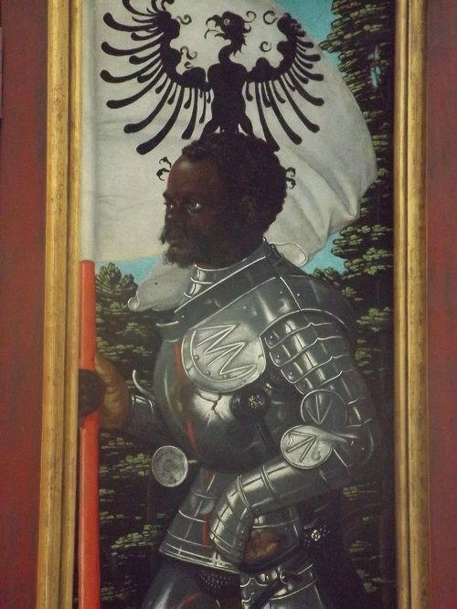 The Black Saint Maurice (the Knight of the Holy Lance) is regarded as the great patron saint of the Holy Roman Germanic Empire. Description from atlantablackstar.com. I searched for this on bing.com/images