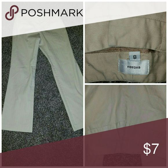 Entsou career dress trousers wide leg pants sz 8 Part of mondays sale. Bootcut khaki tan color pants in a size 8. Made by entsou.  Great used condition.  They are perfect for career or casual (school uniform?). I do bundle to save on shipping so please check out my other listings etsou Pants Boot Cut & Flare