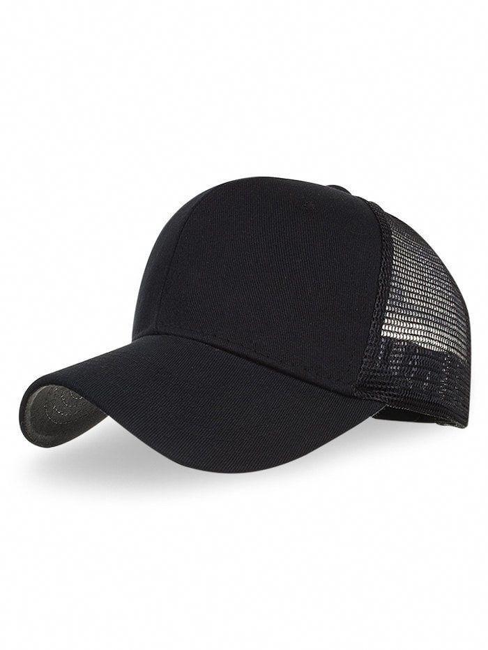 0c52d3c6575 Unique Solid Color Mesh Baseball Cap - BLACK  BaseballJerseys ...