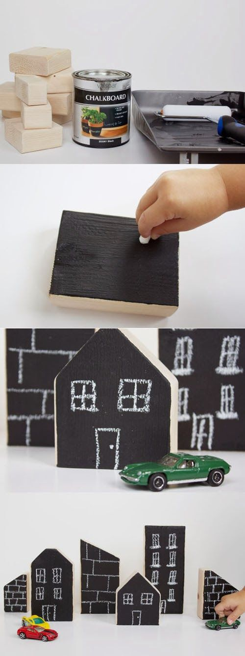 chalkboard painted building blocks