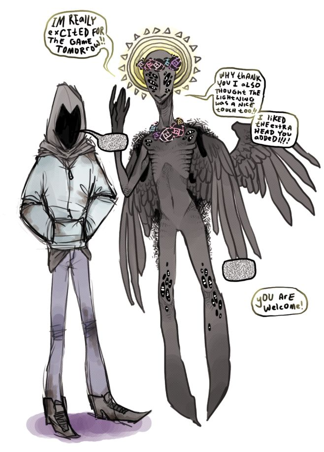 Hooded Figure And Angel by Inkypad.deviantart.com on @deviantART