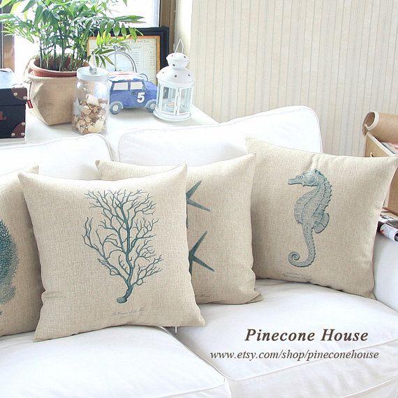 Seahorse Starfish Coral Linen Burlap Decorative Throw Pillow Cover Housewares Decor Accent Sofa Couch Set Pillow Case Cushion Cover