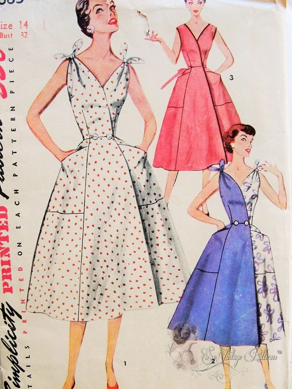 1950s FAB HALF n HALF Dress Pattern SIMPLICITY 4683 Simple To Make Sleeveless Low V Neckline Wrap Around Dress Regular or Flirty Tied Shoulders Large Pockets Bust 30 Vintage Sewing Pattern
