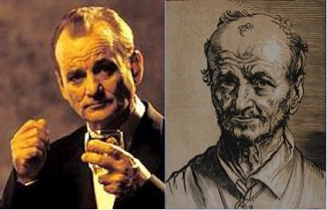 """Double Bill""  - Celebrity Doppelgängers at the Art Institute of Chicago.  Image Credits: Bill Murray, in Lost in Translation, Focus Features 2003. Jan Lievens (Dutch, 1607–1674)  Bust of a Man Facing Forward, 1630/40. Chiaroscuro woodcut from two blocks, in black and light brown ink on cream laid paper.  Restricted gift of Mr. and Mrs. Cyrus H. Adams, Frank B. Hubachek, and the Alsdorf Foundation, 1959.542"