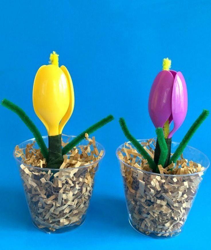 Basteln mit Kindern - Bunte Frühlingsblumen aus Löffeln