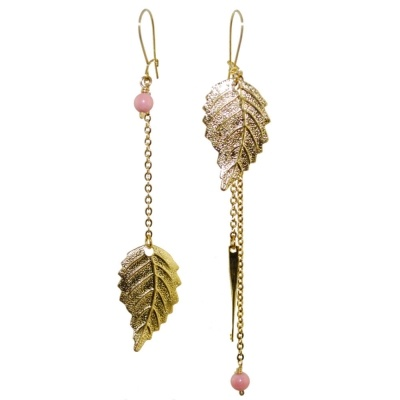 toodles BY TOODLEBUNNY Mismatched Leaf Earrings Gold (CC MMGPLVCR)