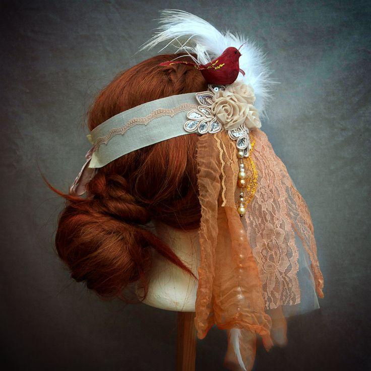 Peach and ivory bridal 1920s Flapper headdress. by MaidintheForest  #boho wedding #hippie wedding headpiece #flapper headpiece #bohemian wedding headdress  #flapper veil #the 1920´s headdress