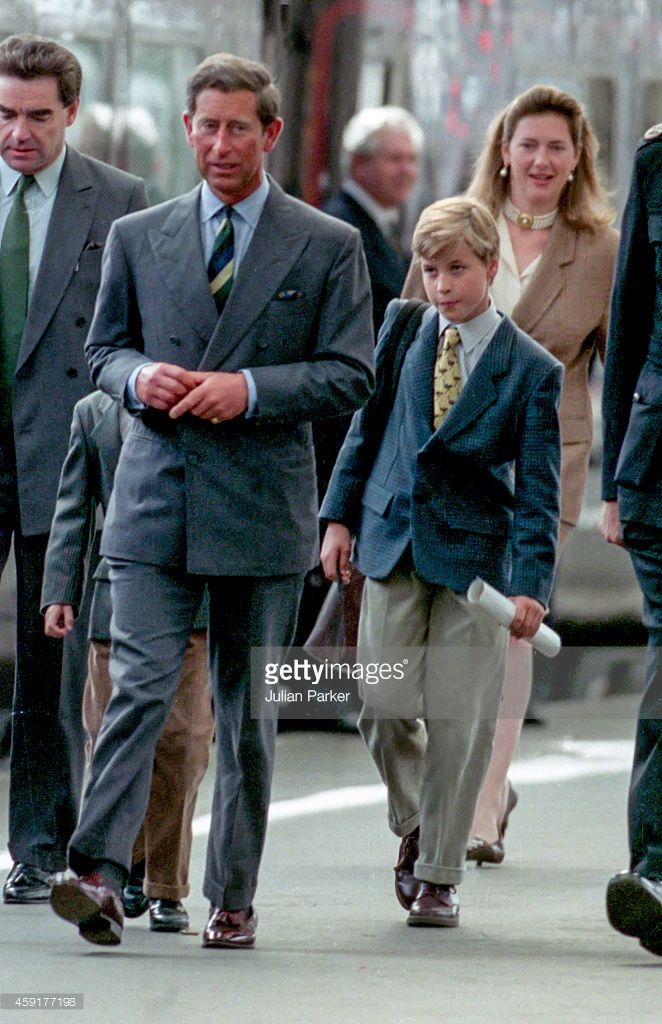Charles, The Prince of Wales, Prince William, with nanny, Tiggy Legge-Bourke, arrive at Aberdeen Railway Station, heading for Balmoral Estate, Scotland, on August 17, 1993 in Aberdeen, Scotland.