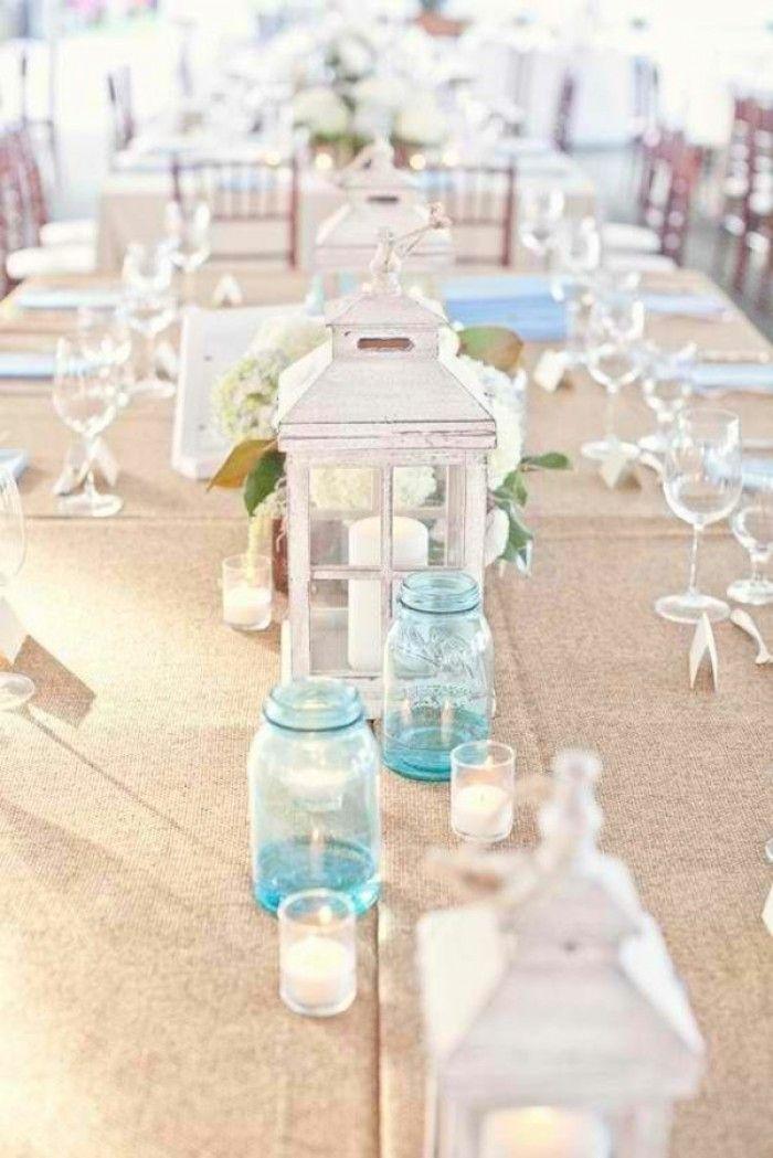 weiße Strandhochzeit mit blauen Akzenten-DIY Kerzenhalter