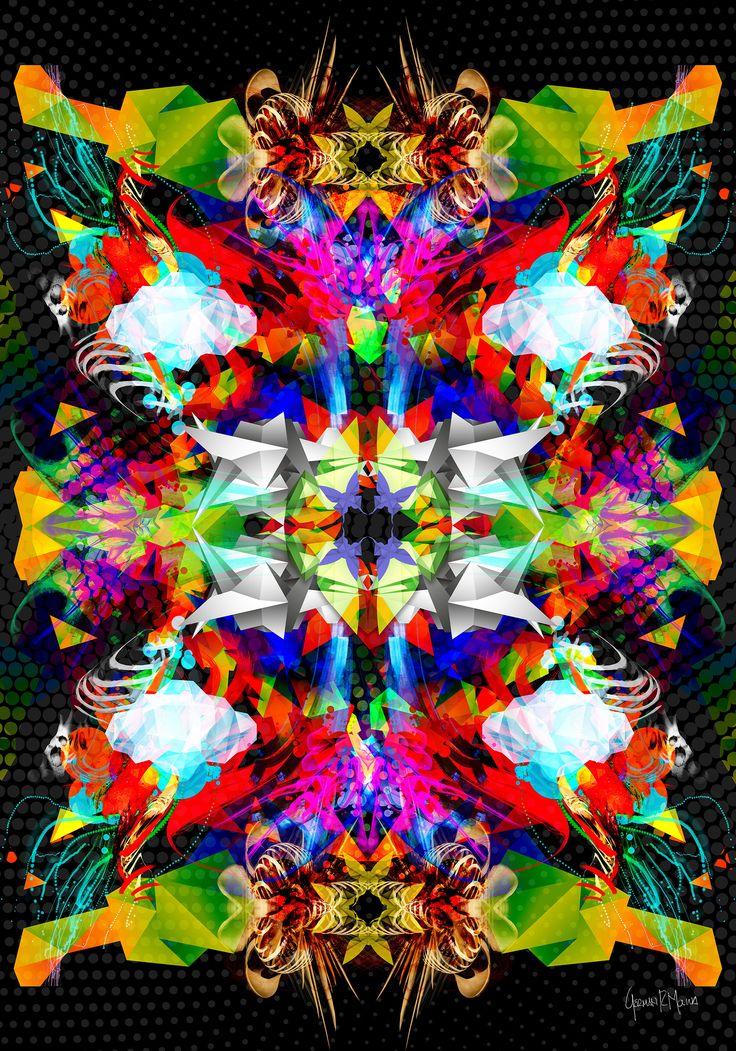 Explosion Geometrica - Arte Digital German Molina - Tamaño 100 x 70 cms - Papel Fotográfico sobre soporte de madera - Disponible