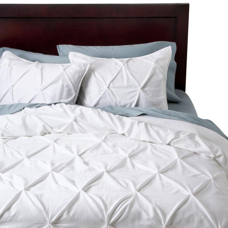 modern master bedroom with threshold seersucker duvet cover set | Threshold Pinched Pleat Duvet Cover Set I, Jenna M, swear ...