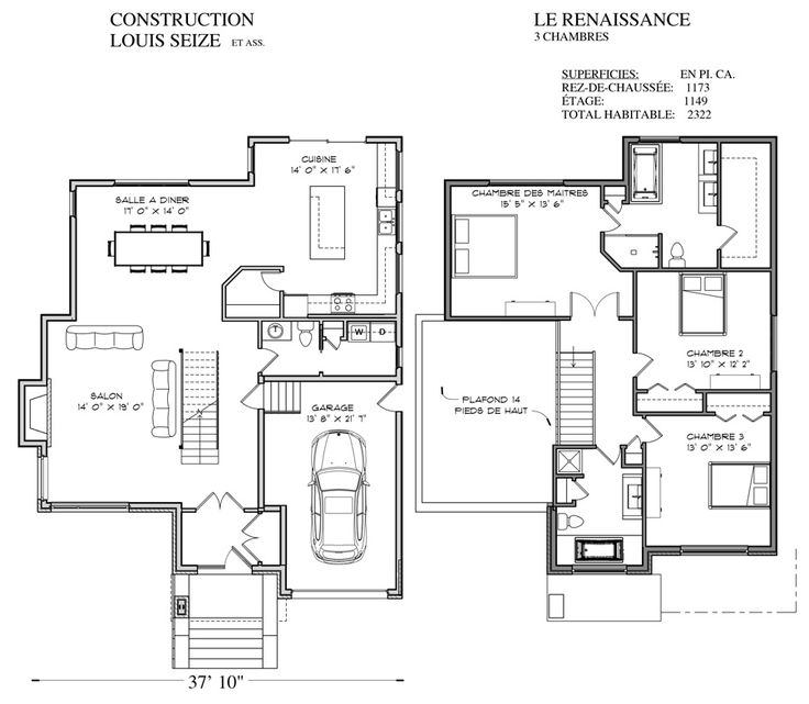 238 best Maison images on Pinterest Home ideas, House blueprints - modele de construction maison