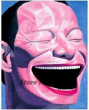 Китай известный современный художник minjun юэ хип-хоп улыбающееся лицо холст современный декоративные абстрактное искусство walloil живопись 50