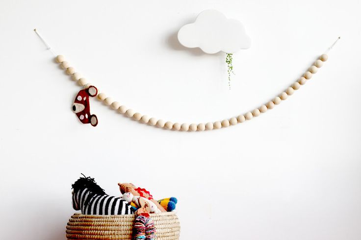 Wooden Bead Garland - Natural