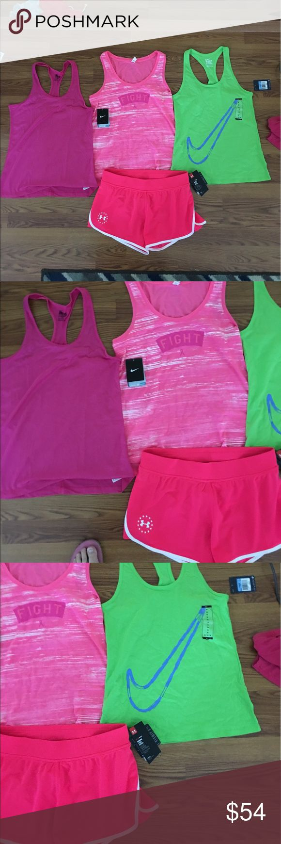 NWT women's medium workout clothing bundle! New with tags women's size medium workout clothing bundle! Bundle includes: two Nike tanks, 1 under Armour tank and one pair of freedom under armor shorts! Price is for all. Under Armour Tops Tank Tops