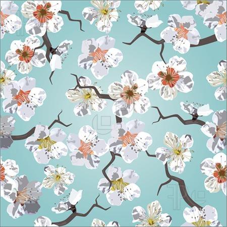 Illustration of Sakura seamless pattern. Cherry blossoms in the sky.