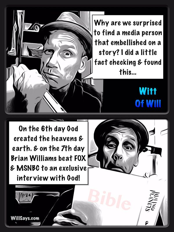 And on the 7th days Brian Williams beat FOX NEWS out of an interview with #God !http://houston-newsonline.com/and-on-the-7th-days-brian-williams-beat-fox-news-out-of-an-interview-with-god/  And on the 7th days Brian Williams beat FOX NEWS out of an interview with #God !    I'm Will Roberts, and this is the daily scream… Ahh, here we go! And on The 6th day God finished the heavens and earth. On the 7th day, Brian Williams beat out FOX News