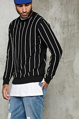 Pinstripe Crew Neck Sweater