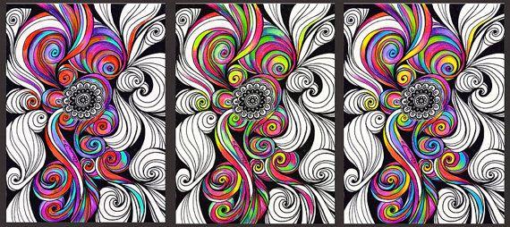 3 colorida pieza de arte instantáneo descargar, mandala abstracto psicodélico dibujar Zentangle, decoración de la habitación de Yoga de Hippie de colores del arco iris, sala de arte de los niños